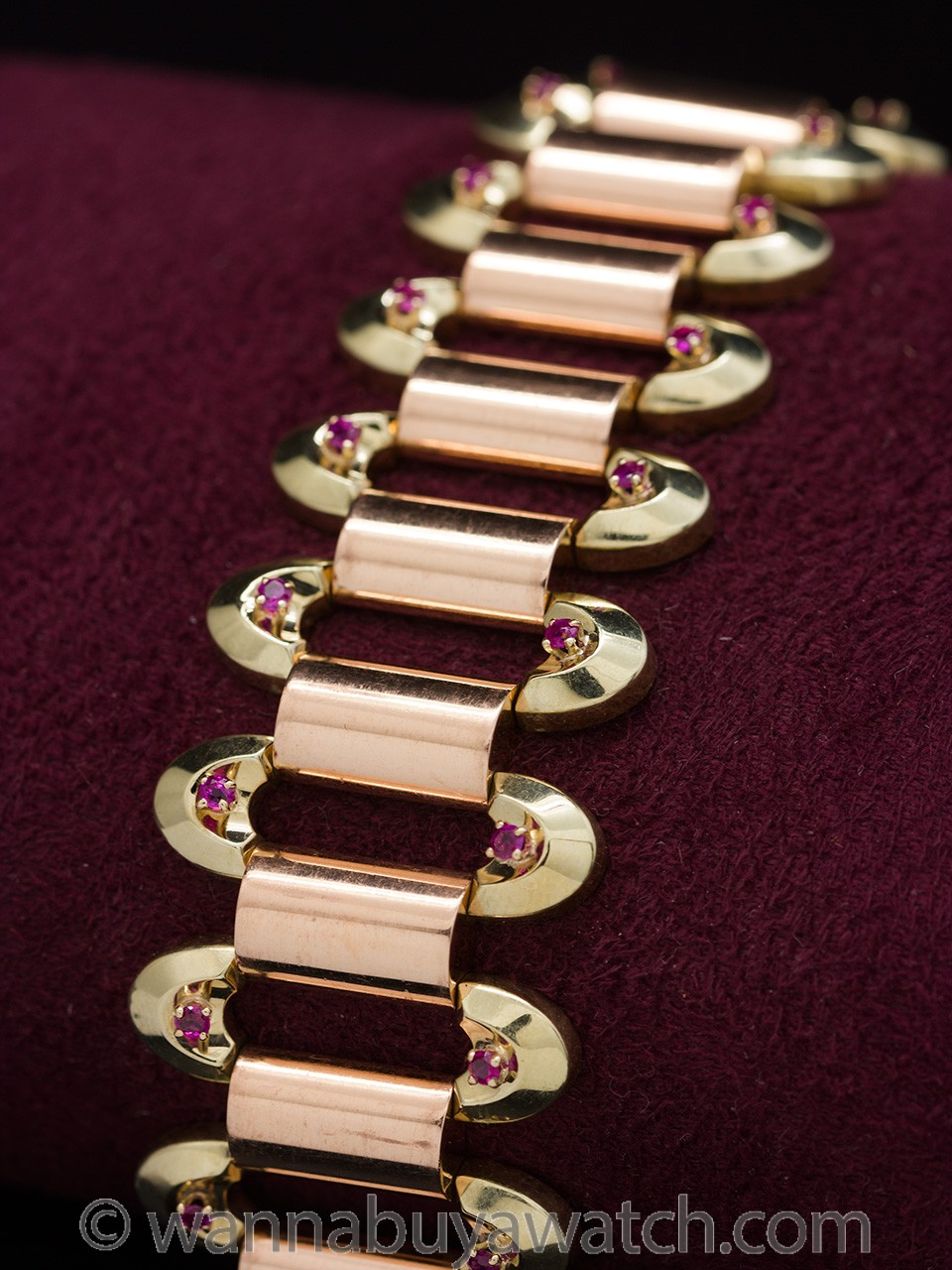 Fabulous Retro Ruby Rose & Yellow Gold Bracelet circa 1940s