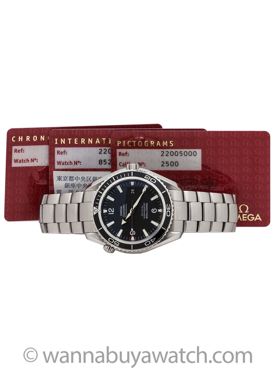 OMEGA STAINLESS SEAMASTER XL PLANET OCEAN CO-AXIAL REF: 2200.50.00