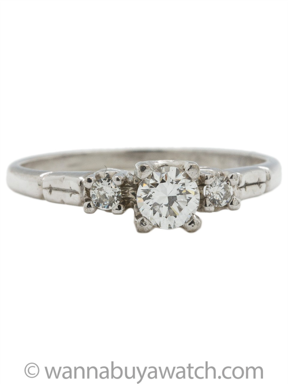 Classic Vintage Platinum Diamond Engagement Ring .28ct G-SI2 circa 1950s