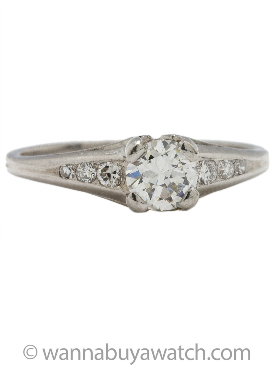 Vintage Engagement Ring Platinum .50ct Old European Cut H-VS2 circa 1940s