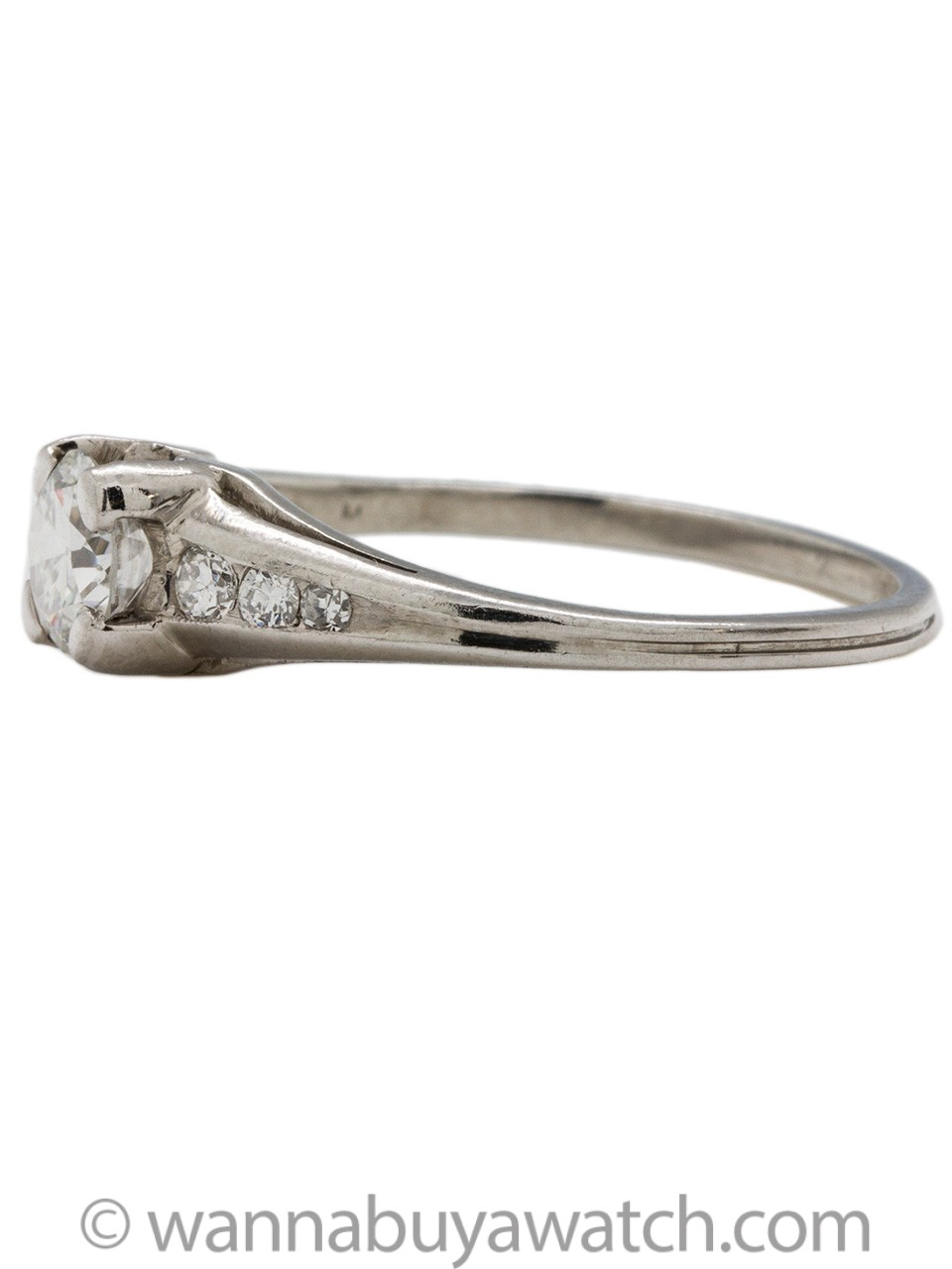 Vintage Engagement Ring Platinum .50ct Old European Cut H-VS2 circa 1940s