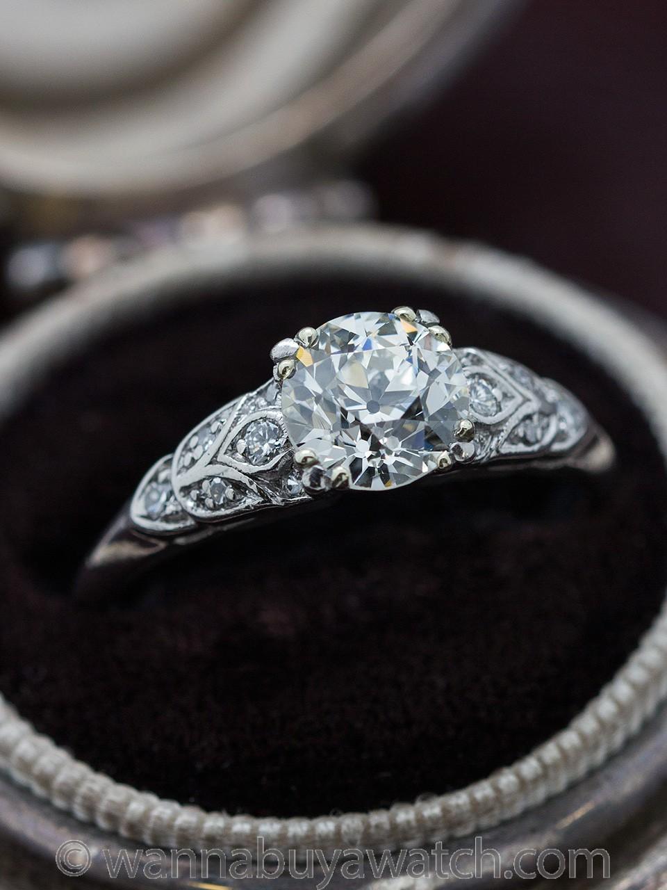 Vintage Engagement Ring Platinum 1.22ct Old European Cut I-VS2 circa 1930s