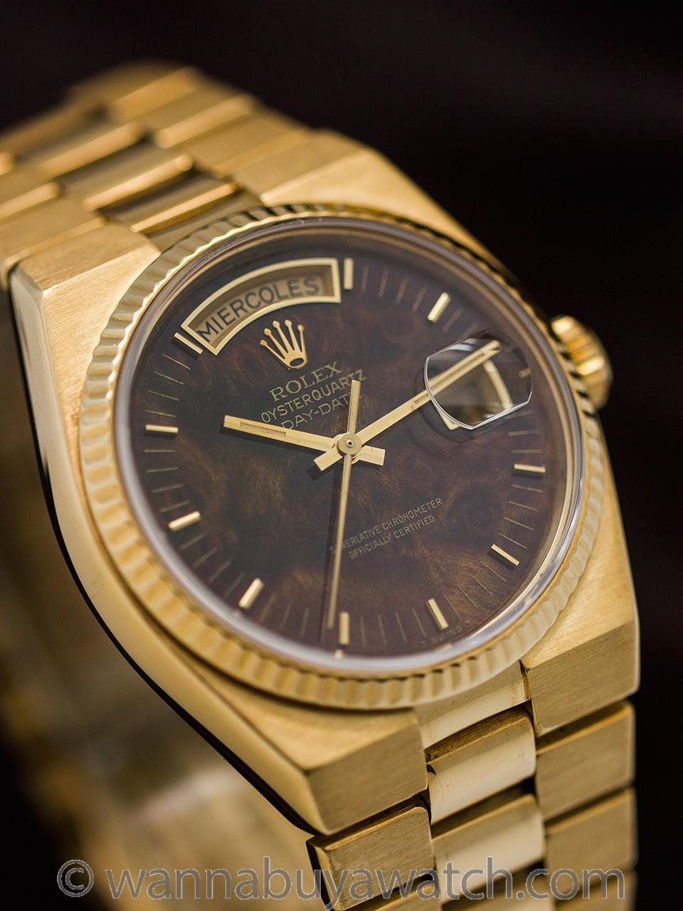 Rolex Day Date ref 19018 18K YG Oyster Quartz Burlwood Dial circa 1980