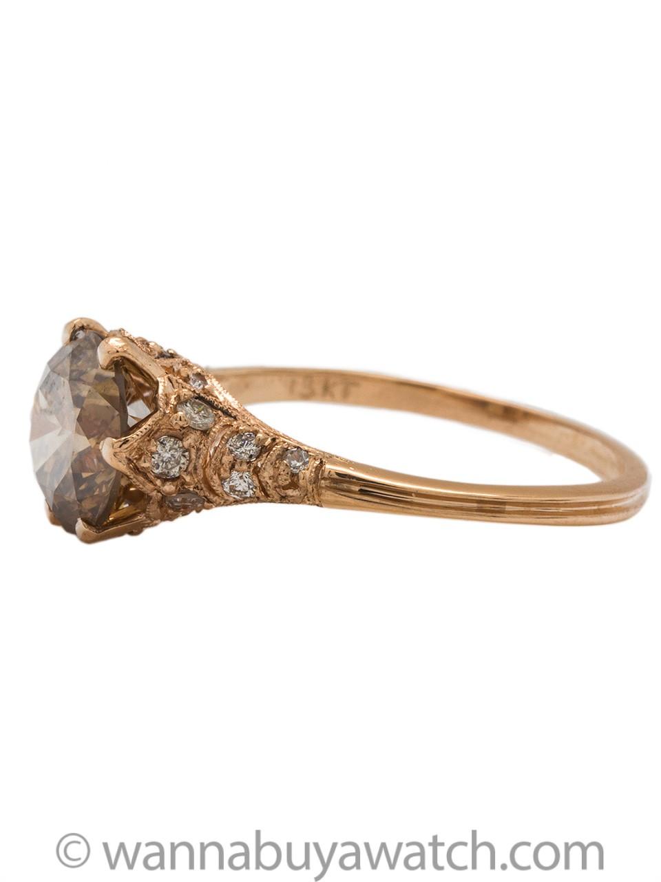 "Stunning ""New Vintage"" 18k Rose Gold Pave Ring 1.85ct Cognac Diamond"