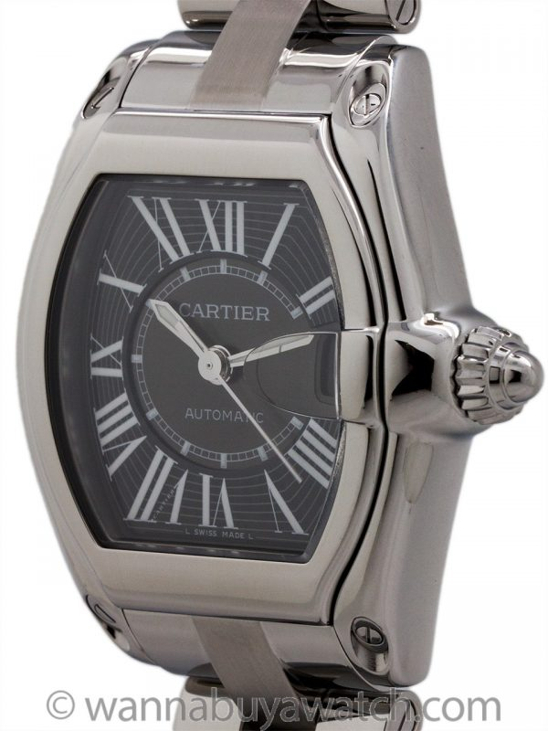 Cartier Man's Roadster Stainless Steel scarce Black Dial circa 2000s