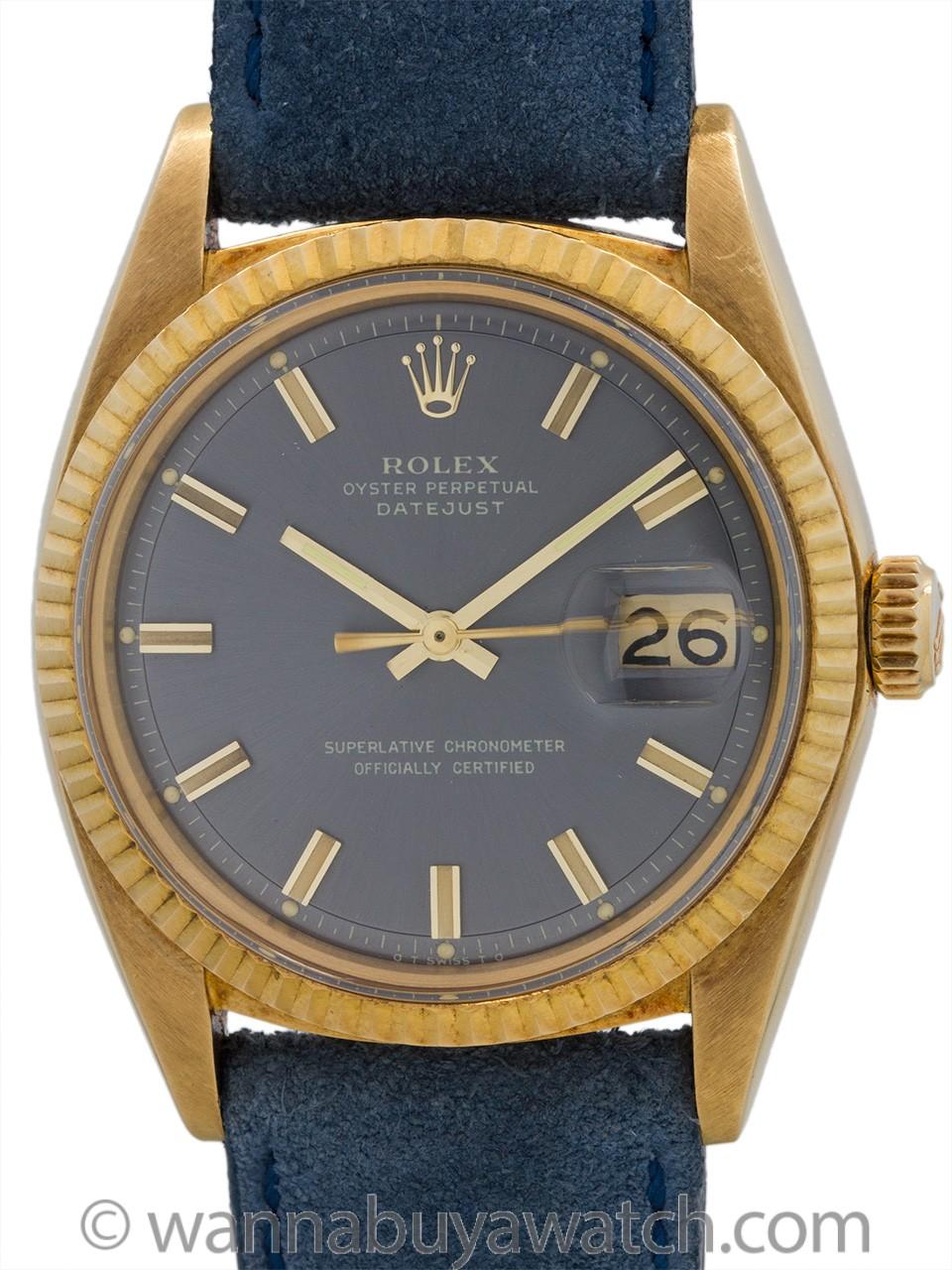 """Rolex Datejust ref 1601 18K YG Gray """"Fat Boy"""" Dial circa 1971"""