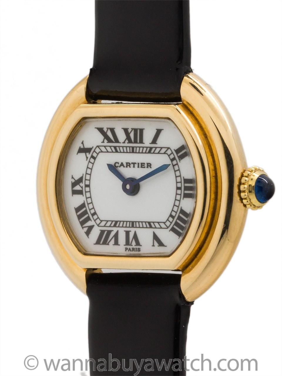 Cartier Lady 18K YG Vendome circa 1970's Enamel Dial