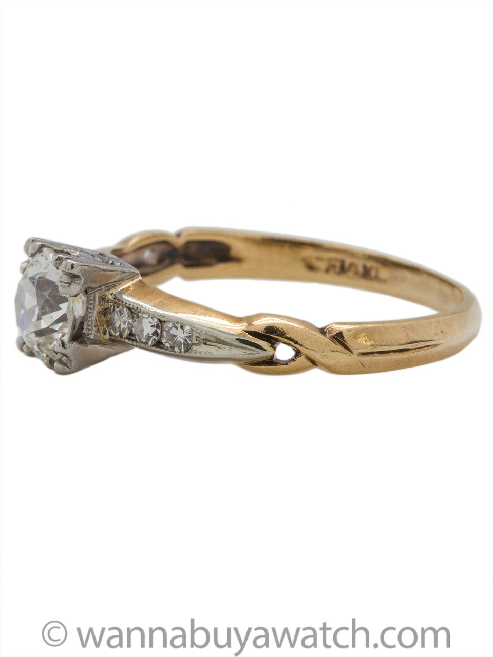 Vintage Diamond Engagement Ring 14K YG 0.50ct Old European Cut G-SI2 circa 1940s