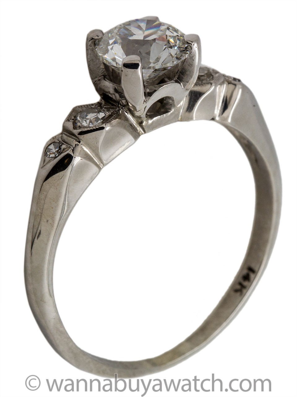 Vintage 14KWG Engagement Ring 0.96ct F-VS2 Old European Cut Diamond circa 1930s