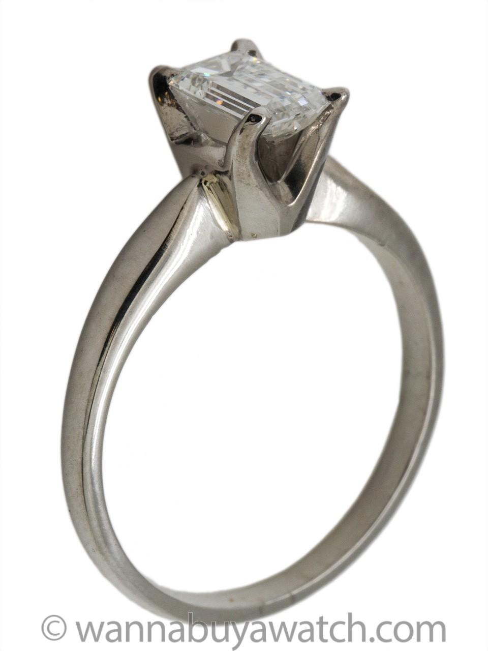 Modern Solitaire Engagement Ring Platinum 0.60ct Emerald Cut E-VS1