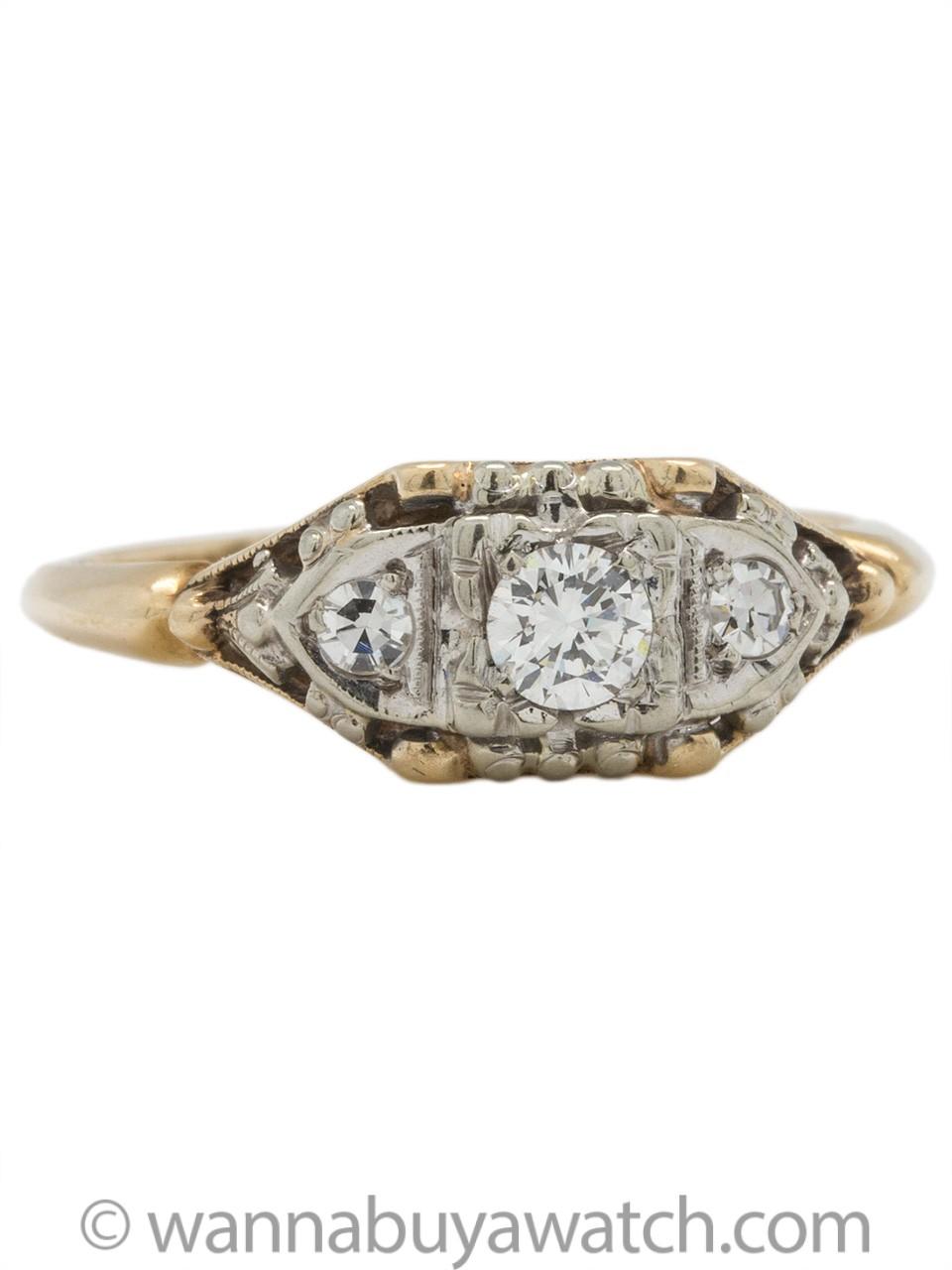 Lovely Antique Engagement Ring 14K YG 0.20ct F-VS2 circa 1940s