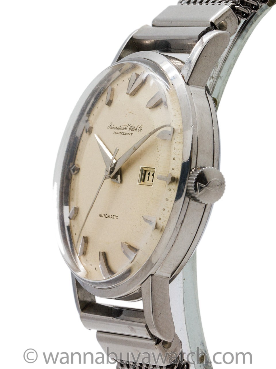 """IWC SS Automatic with Date circa 1960 with """"Elmitex"""" Bracelet"""