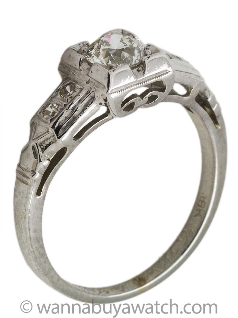 Vintage Art Deco 18K Engagement Ring 0.50ct Old European Cut G-VS1 circa 1930s