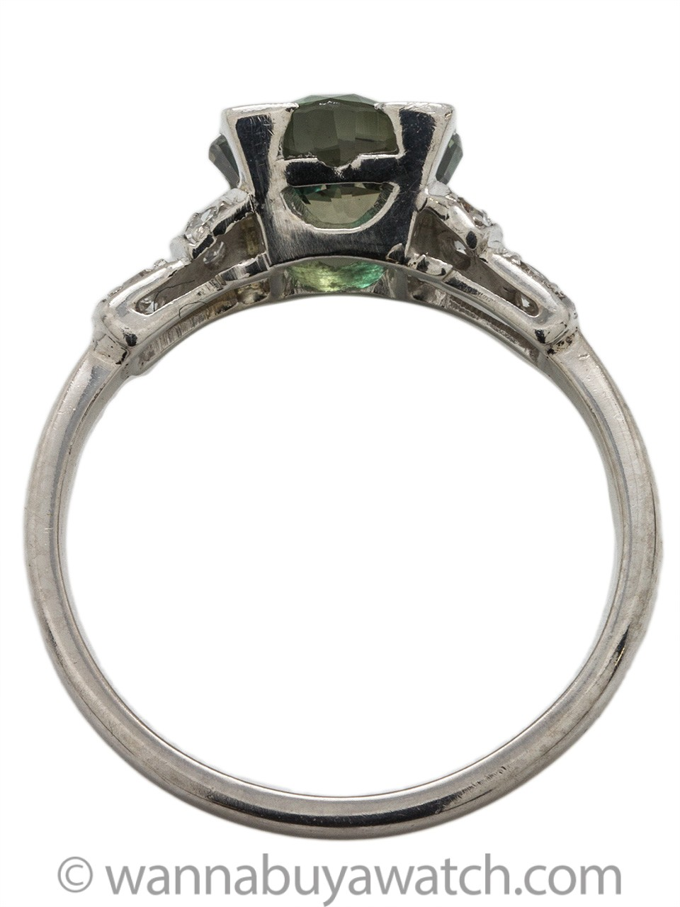 """New Vintage"" Platinum Ring with Cushion Cut Green Sapphire 2.05ct"