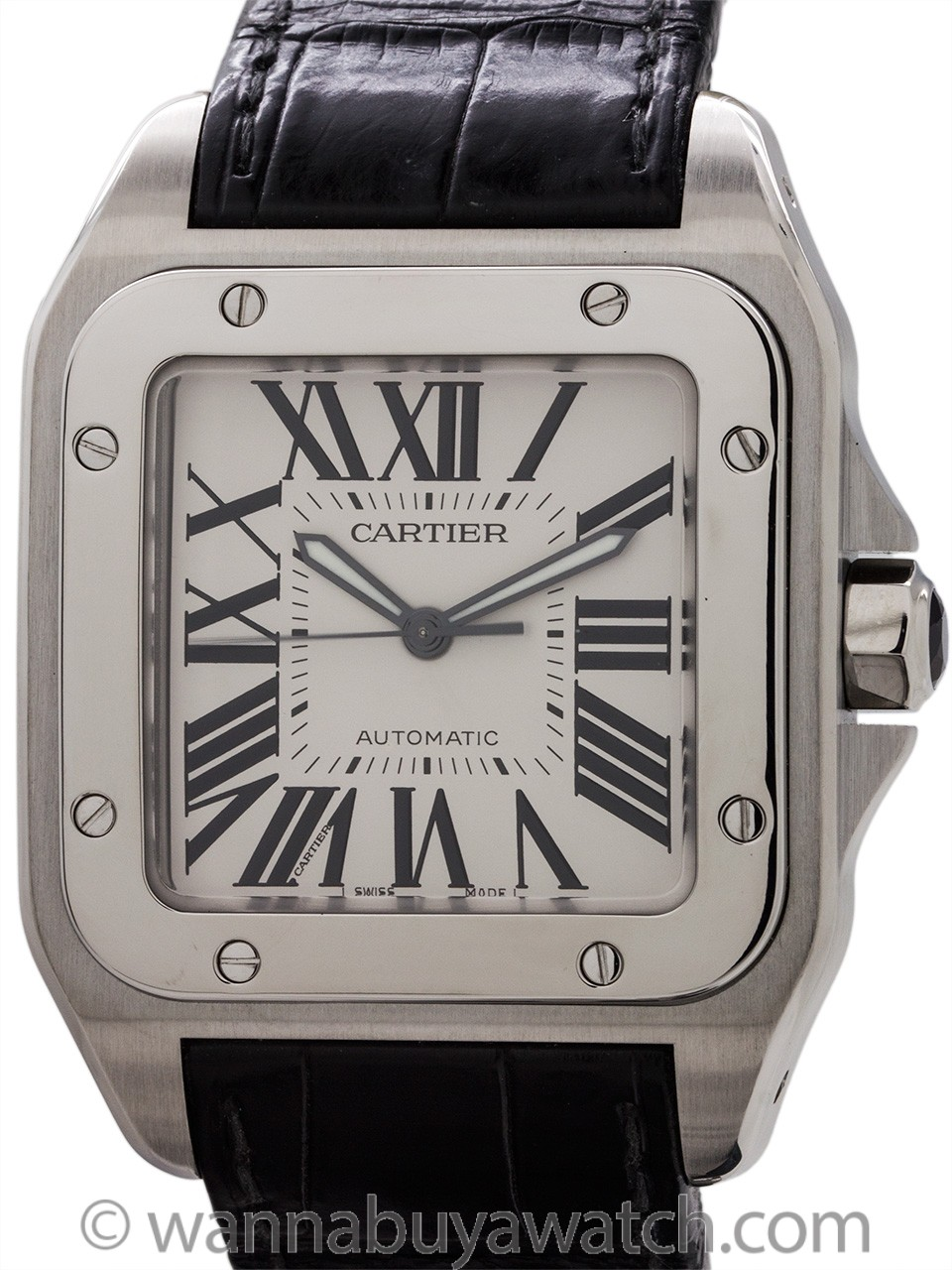 Cartier Santos 100 Stainless Steel ref 2656 Strap and Deployment with Box