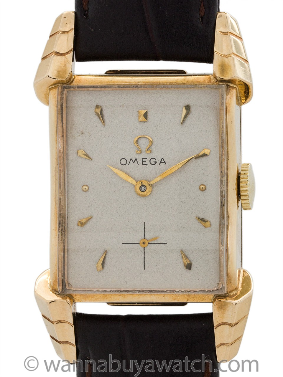 "Omega 14K YG Rectangle ""Winged"" Lugs circa 1947"