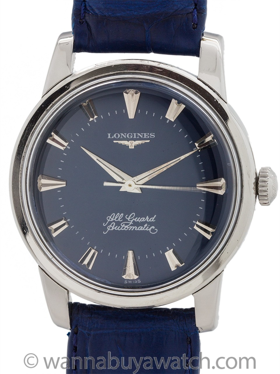 "Longines SS ""All Guard"" Custom Blue Dial circa 1950's"