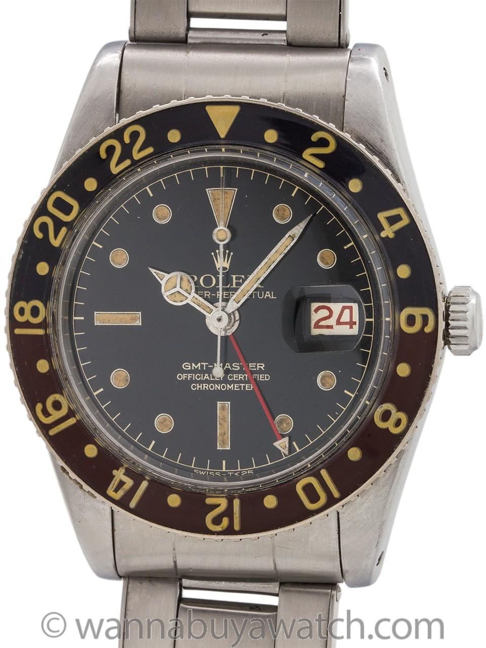 Rolex GMT ref 6542 Bakelite Bezel circa 1958