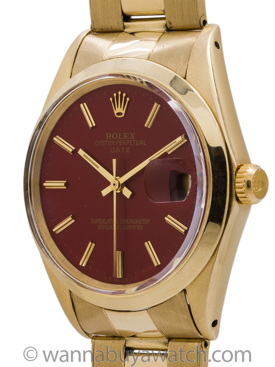 "Rolex 14K YG Oyster Perpetual Date ref 1500 ""Brick Red"" circa 1969"