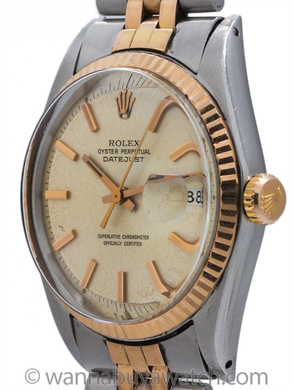 Rolex SS/14K Rose Gold Datejust ref 1601 circa 1972 Box & Papers