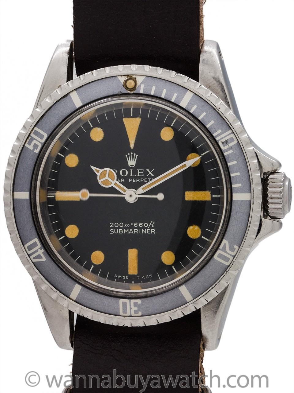 """Rolex Submariner ref 5513 Meters 1st """"Pumpkin"""" Ghost Bezel circa 1968"""