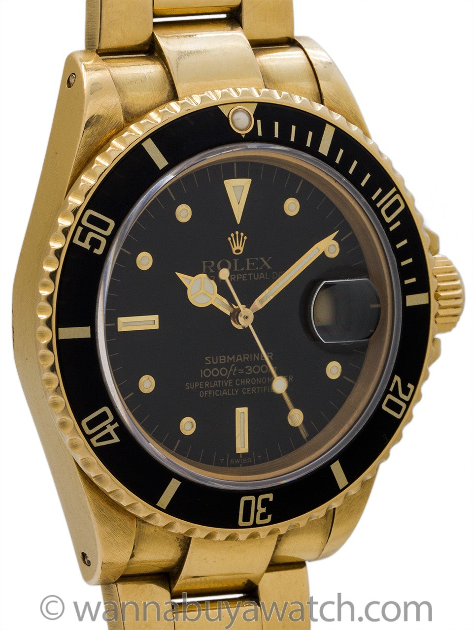 Rolex Submariner ref 16808 18K YG Transitional model circa 1985