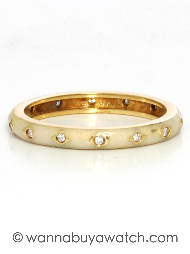 18K Yellow Gold & Cream Enamel With Diamonds