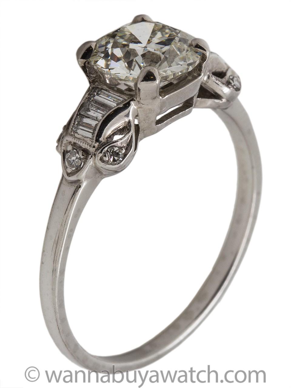 Vintage Engagement Ring Platinum 1.61ct Old European Cut H-VS1 circa 1940s