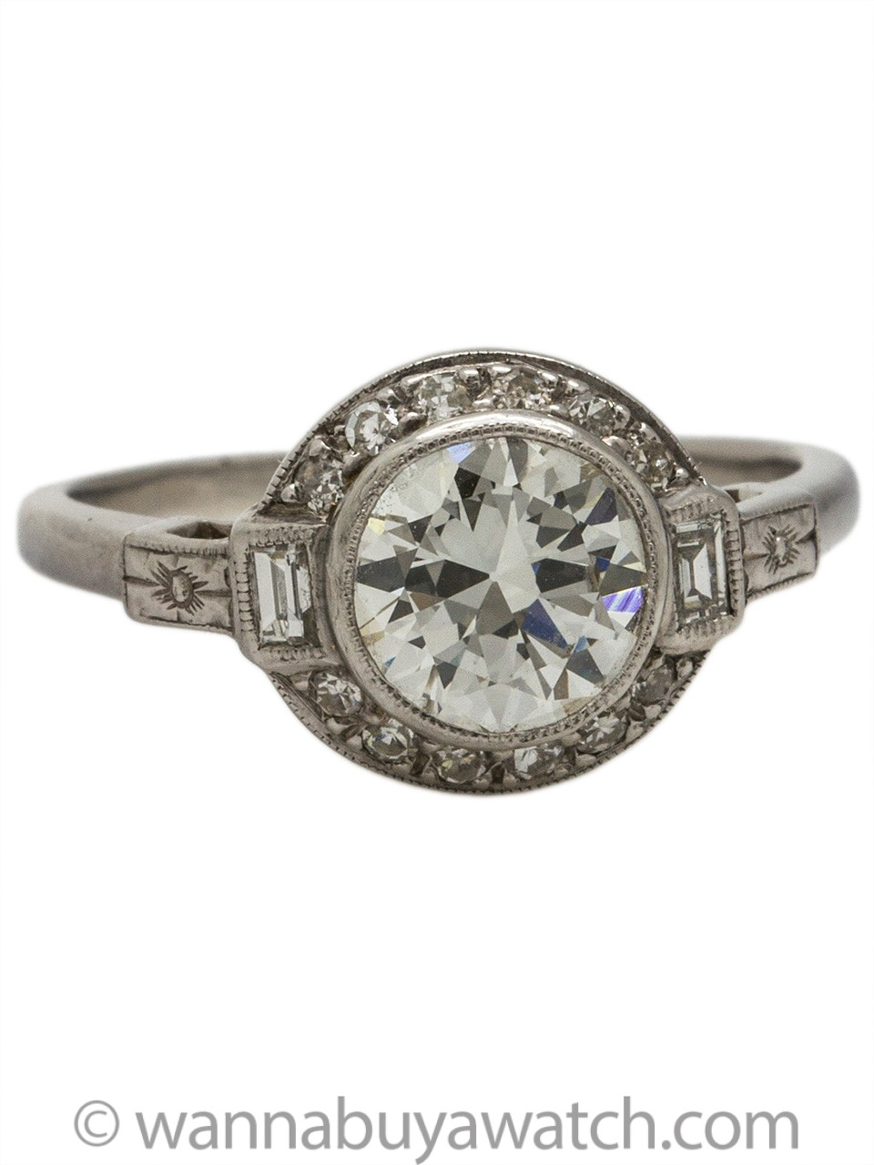 Vintage Engagement Ring Platinum 1.12ct Old European Cut H-VS1 circa 1930s
