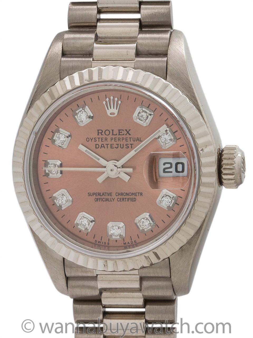 Lady Rolex President ref 79179 18K WG Salmon Diamond Dial circa 2001