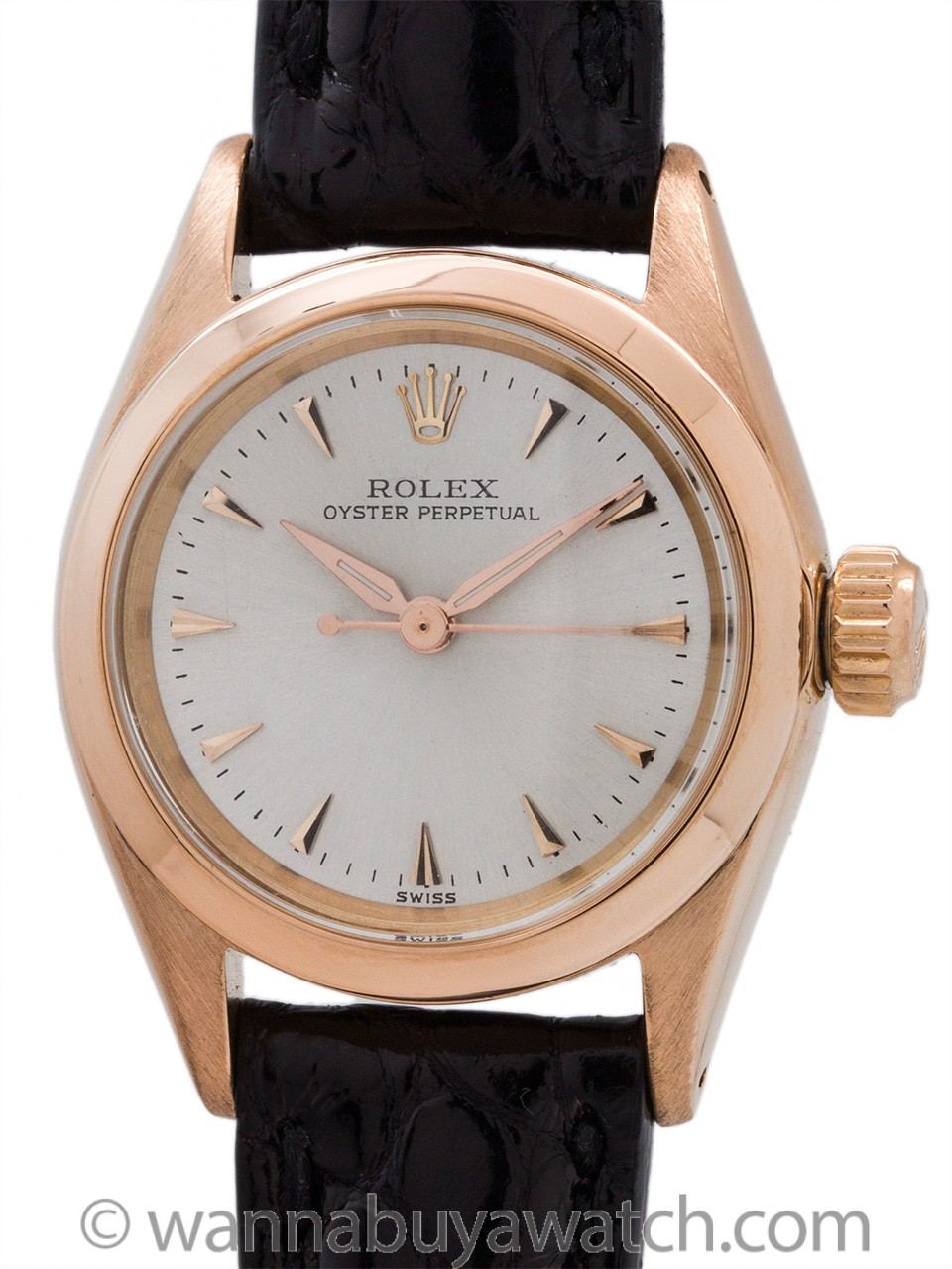 Lady's Rolex 18K Rose Gold Oyster Perpetual ref 6619 circa 1960