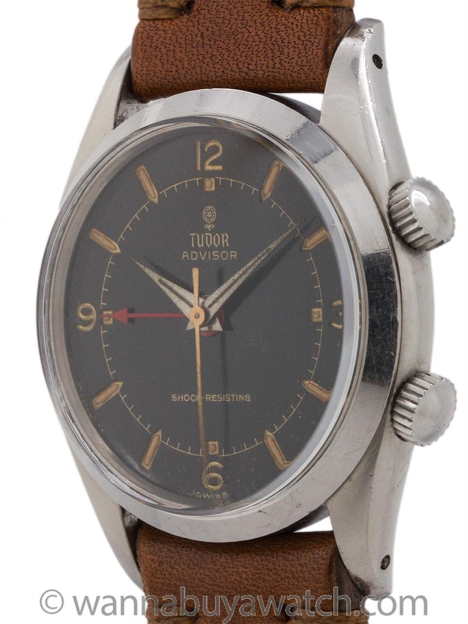 Tudor Advisor Alarm ref 7926 circa 1958 Black Gilt Dial