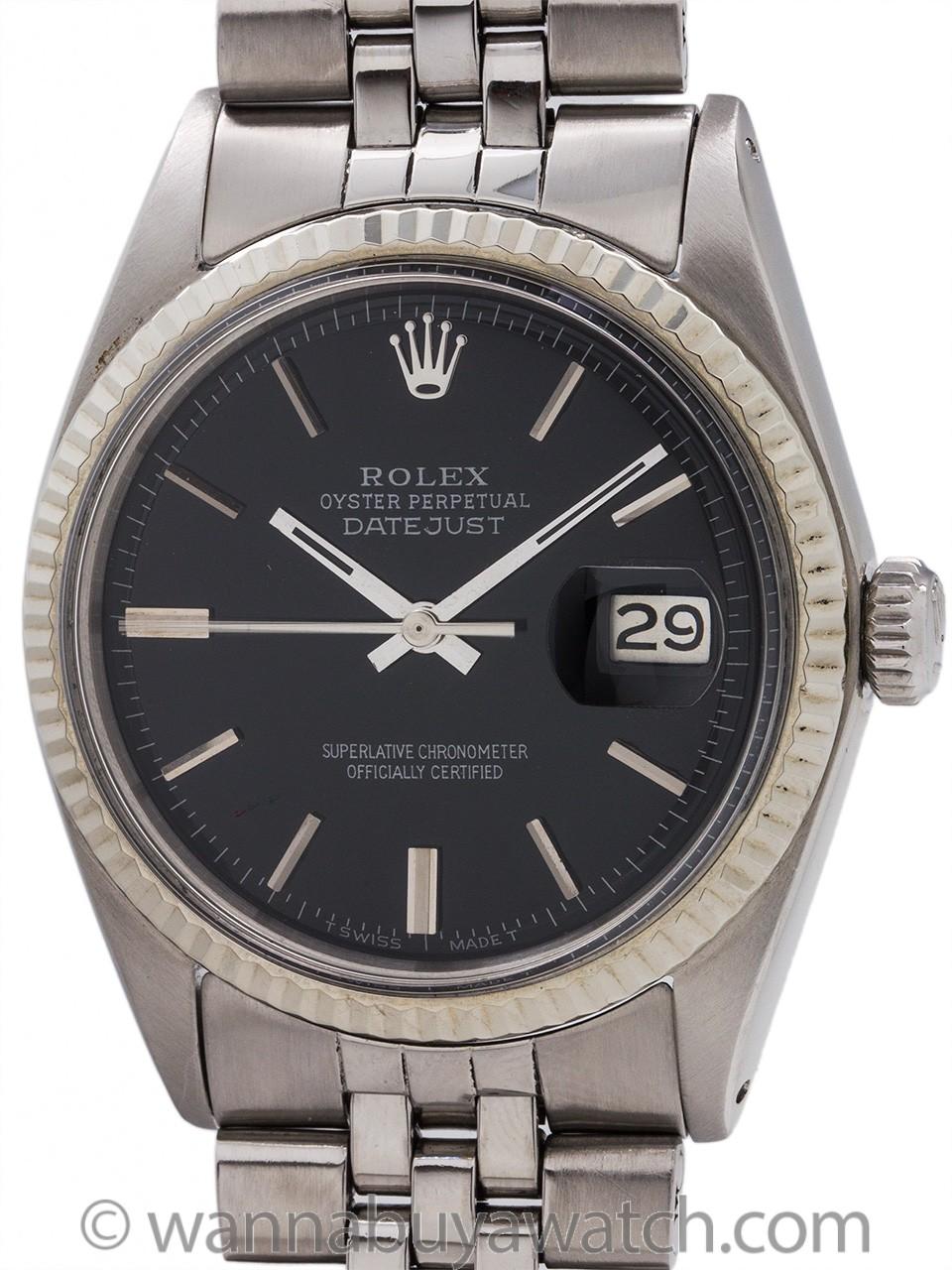 Rolex Datejust ref 1601 Black Pie Pan Dial circa 1970