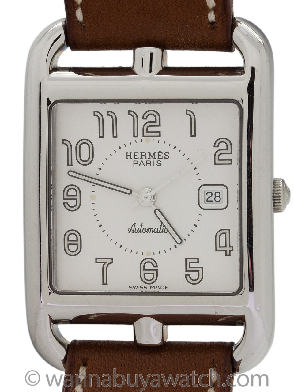 Hermes Man's Cape Cod Stainless Steel Double Strap circa 2000s