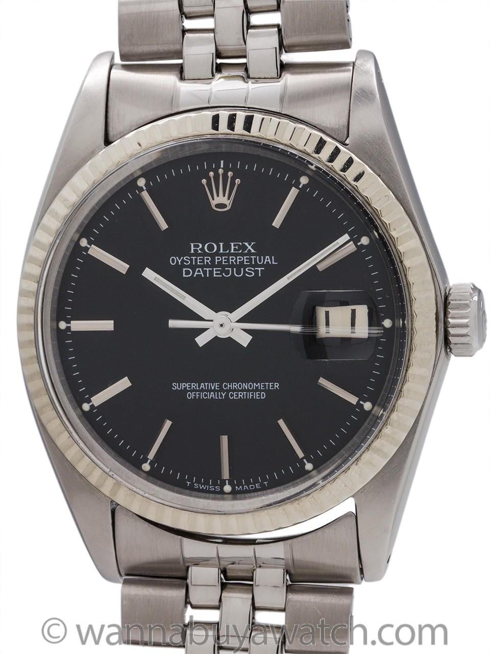 Rolex Datejust ref 1601 Black Pie Pan Dial circa 1965