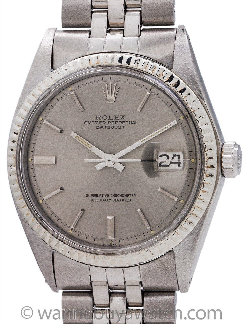 Rolex Datejust ref 1601 Stainless Steel Gray Pie Pan Dial circa 1972