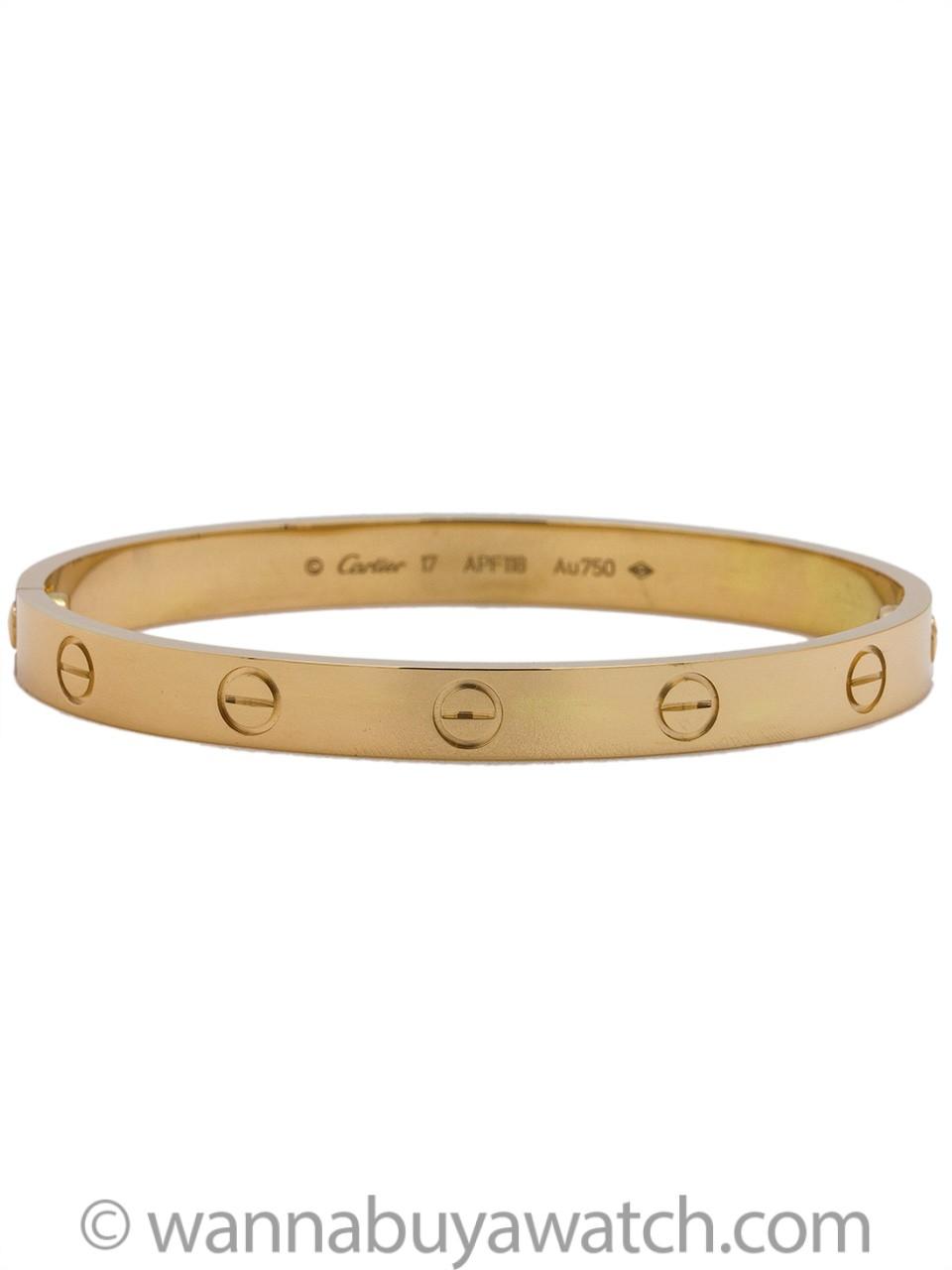 Cartier Love Bracelet 18K YG size 17 Box & Papers