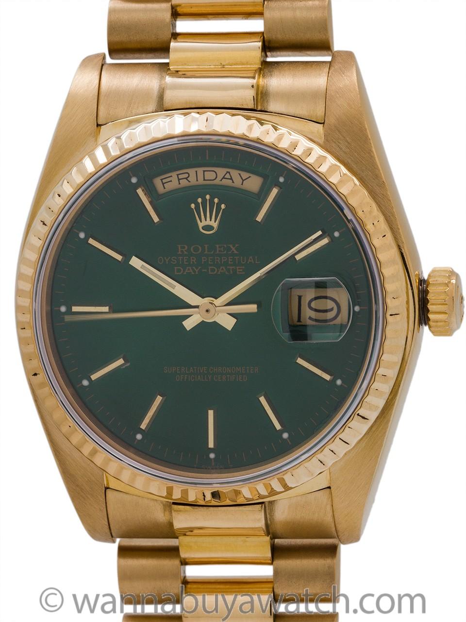 "Rolex ref 18038 Day Date President 18K YG ""Jade Green"" circa 1984"