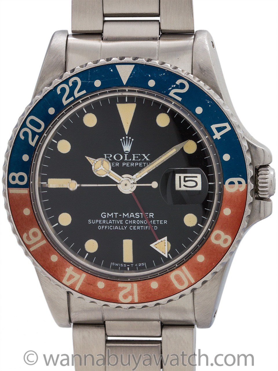 Rolex GMT ref 1675 Stainless Steel circa 1977 Gorgeous Example