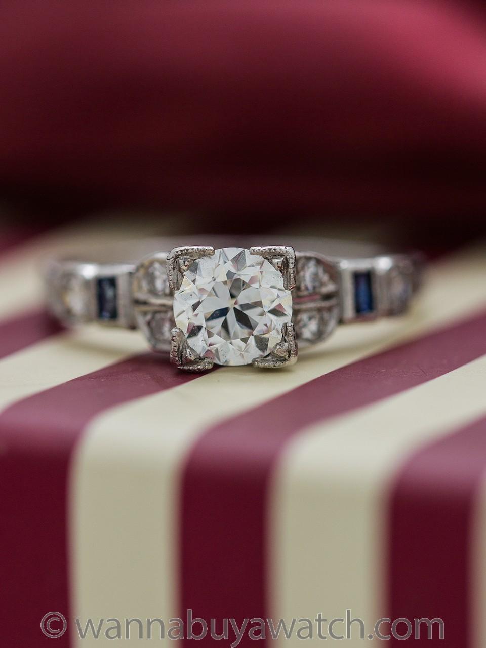 Platinum Diamond Engagement Ring 0.71ct Old European Cut H-VS2