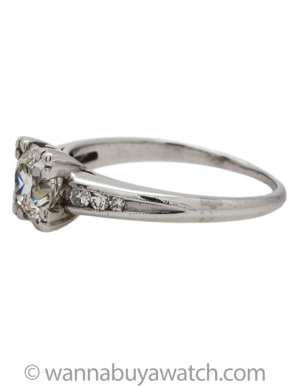 Vintage Diamond Engagement Ring Platinum 0.86ct Round Brilliant H-SI1 circa 1930s