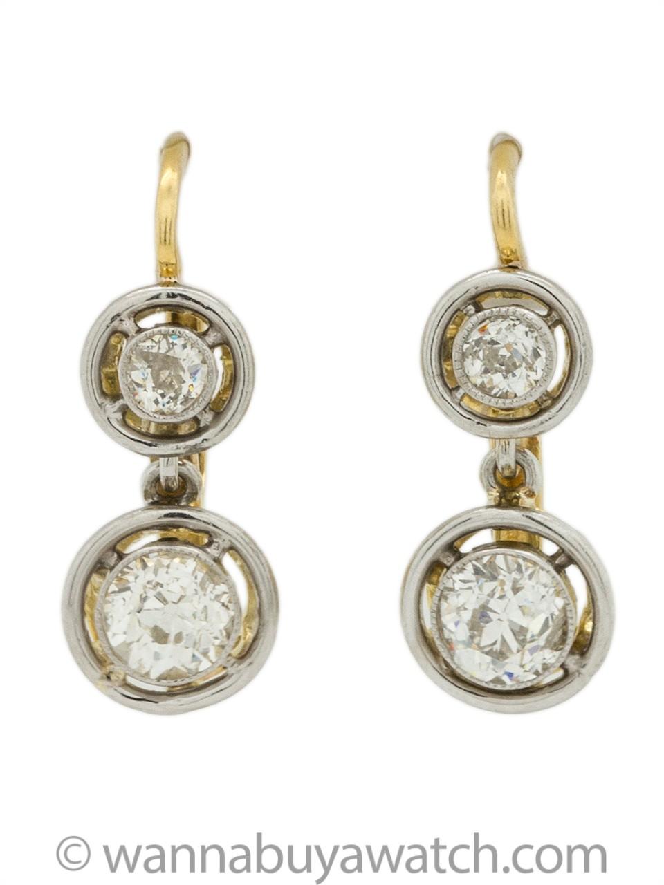 18K WG & YG Bezel Set Old European Cut Diamond Dangle Earrings 1.00ct