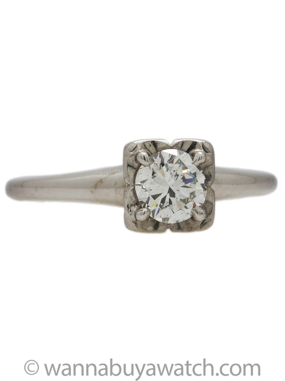 Vintage Engagement Ring 14KW 0.40ct G-SI2 Round Brilliant circa 1950s