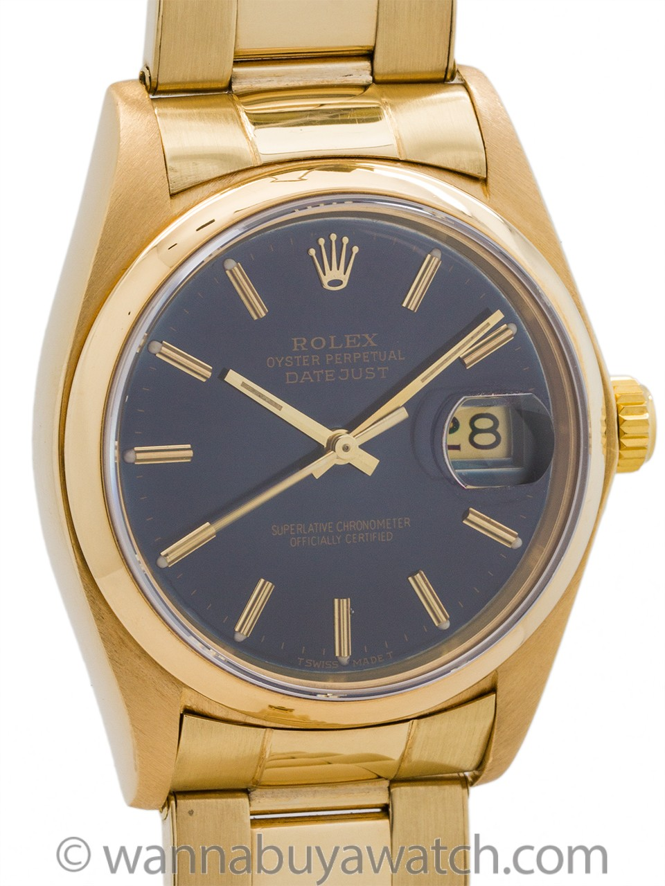 Rolex Datejust 18K ref 16018 Sapphire Blue Dial circa 1978