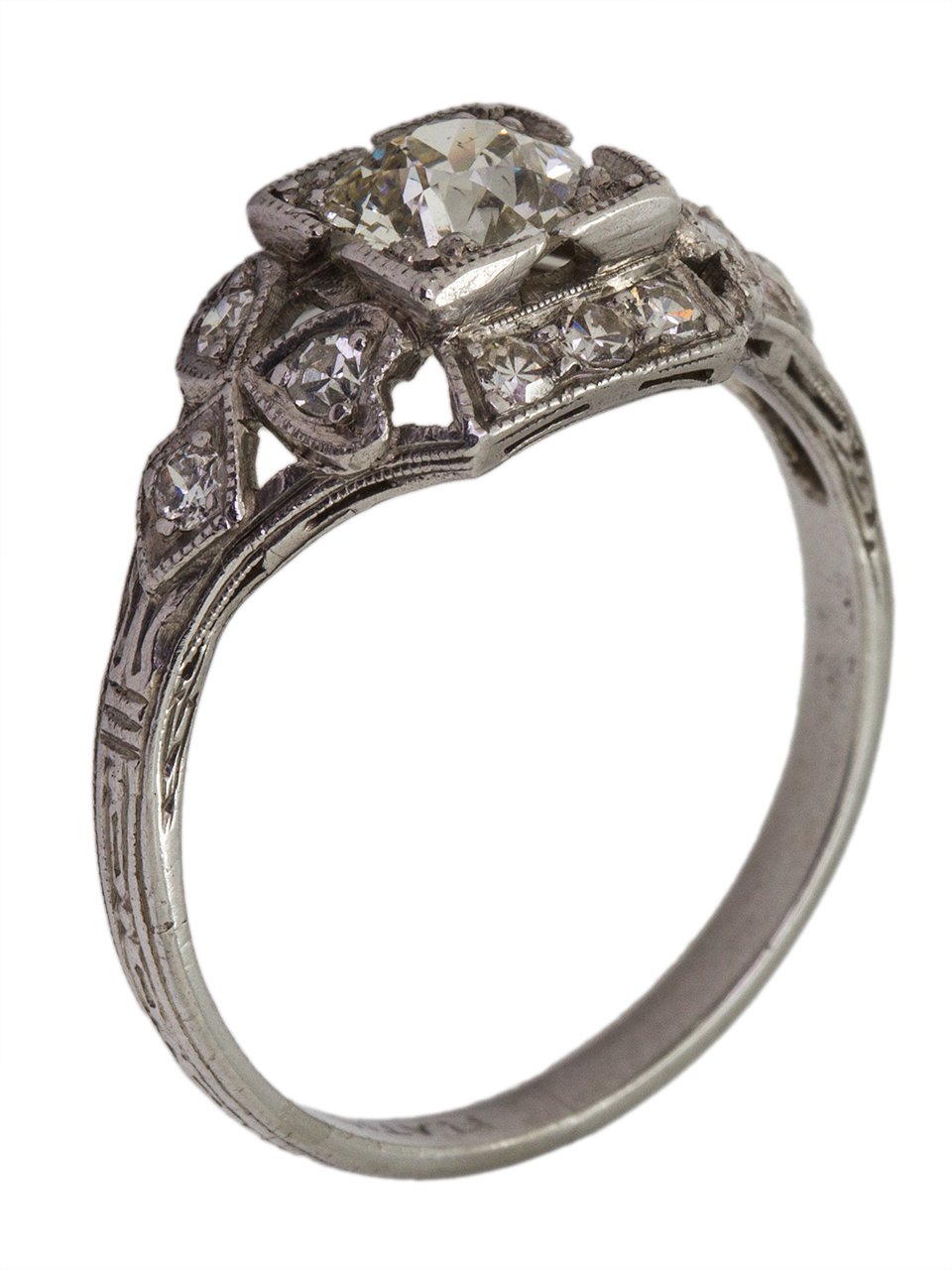 Vintage Engagement Ring Platinum 0.75ct Old European Cut I-SI1 circa 1930s