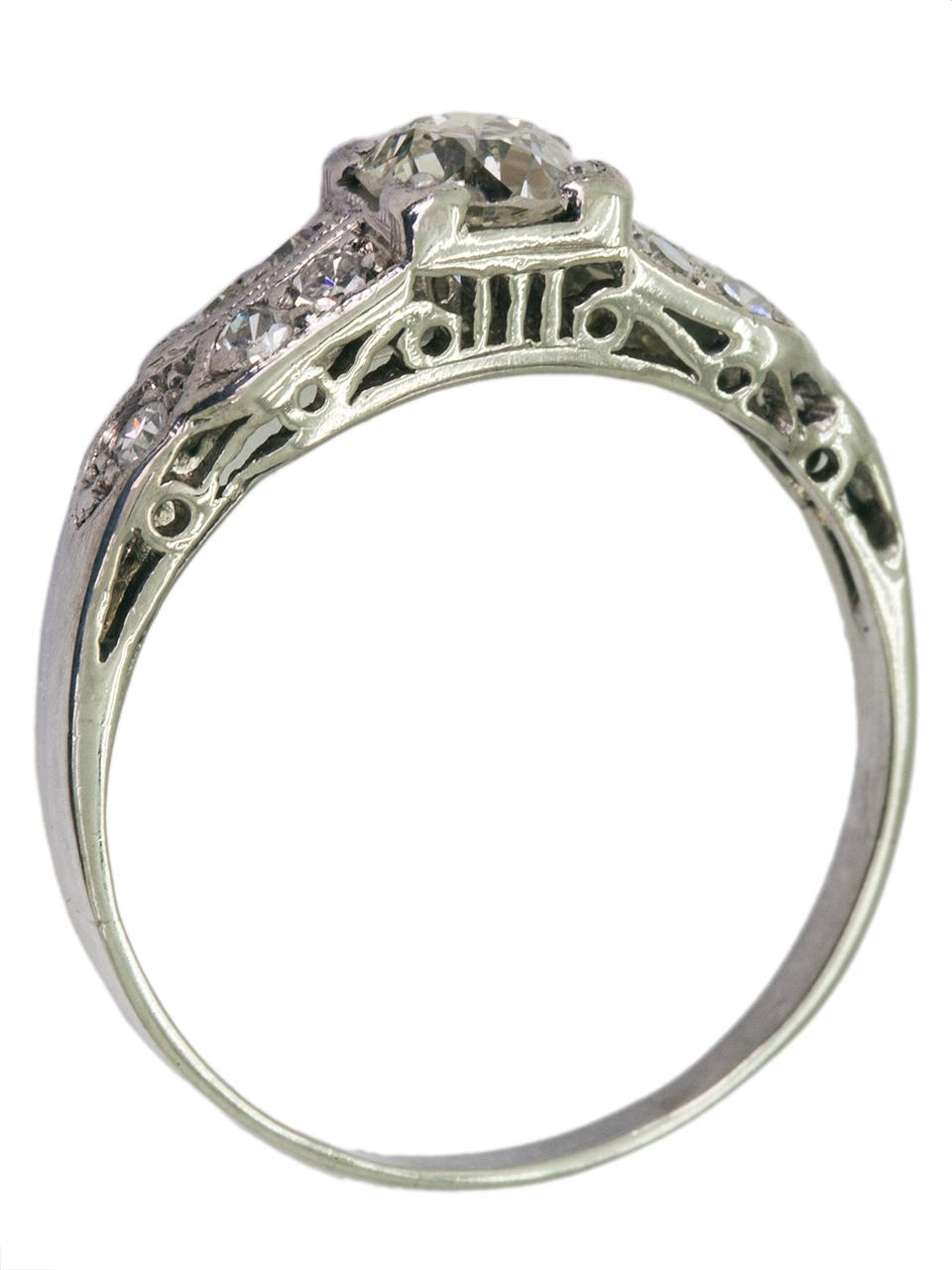 Vintage Engagement Ring Platinum 0.35ct OEC H-SI1 circa 1930s