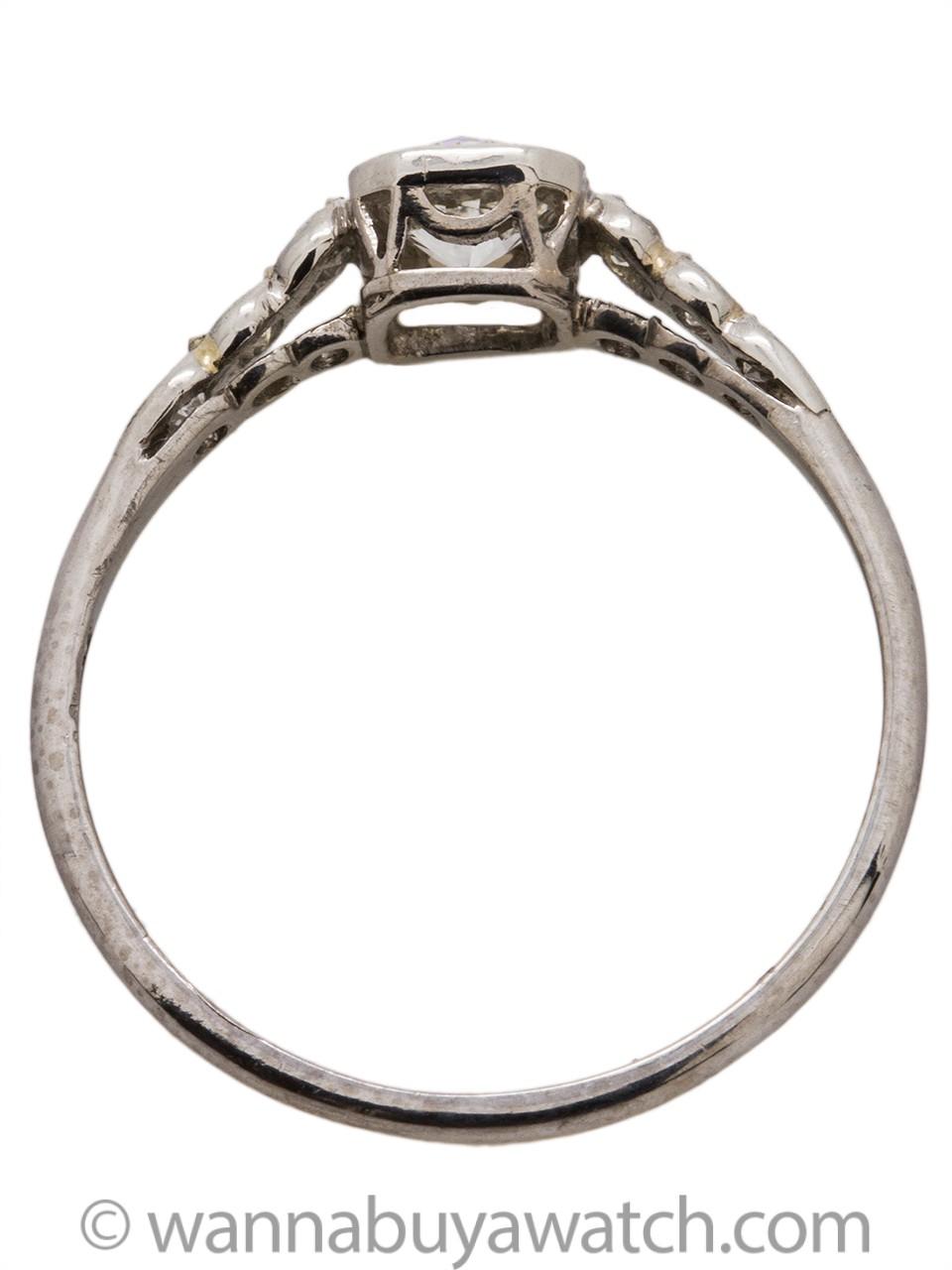 Vintage Engagement Ring Platinum 0.40ct OEC G-VS2 circa 1930s