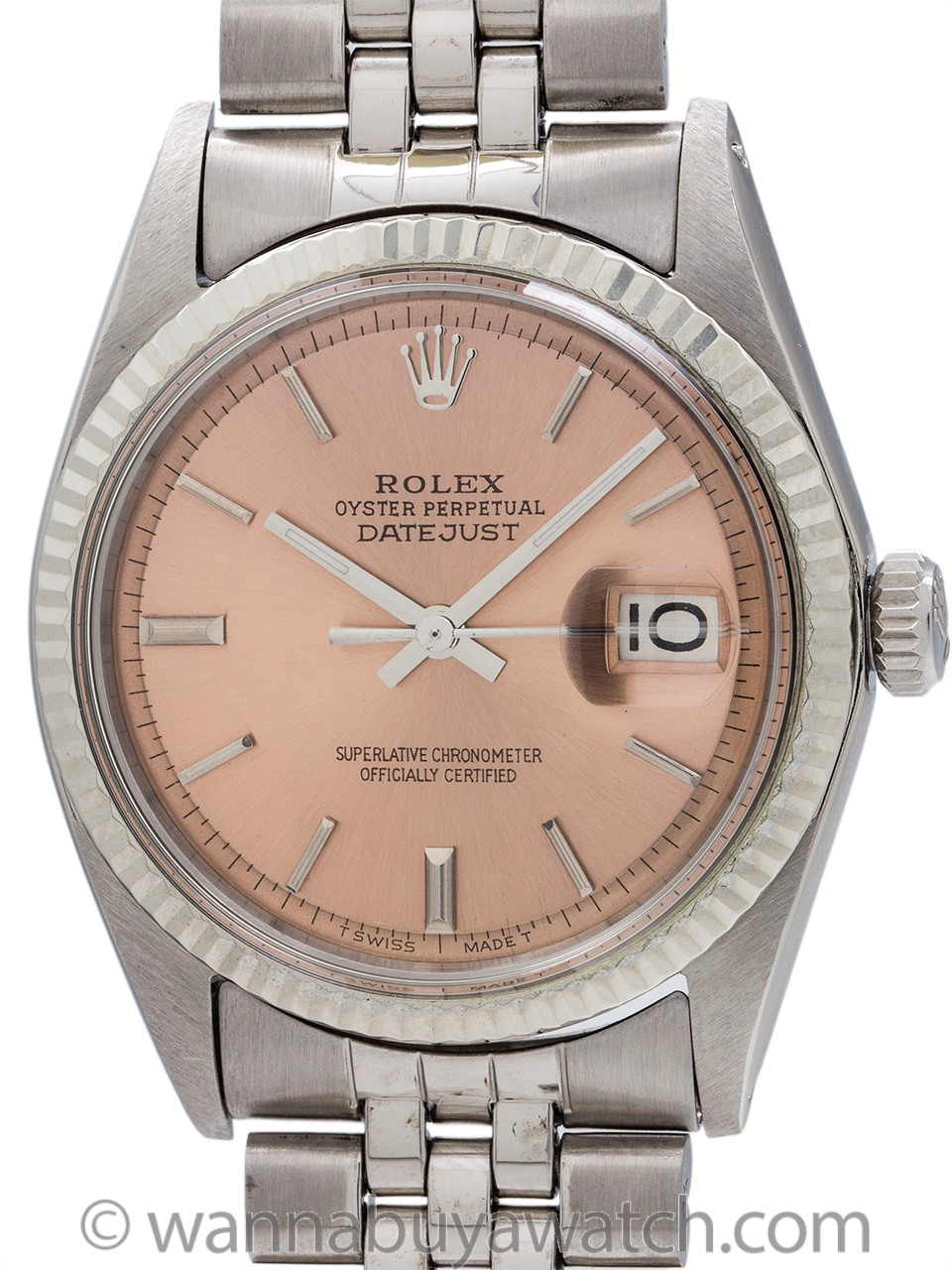 Rolex Datejust ref 1601 SS/14K WG Salmon Pie Pan Dial circa 1968
