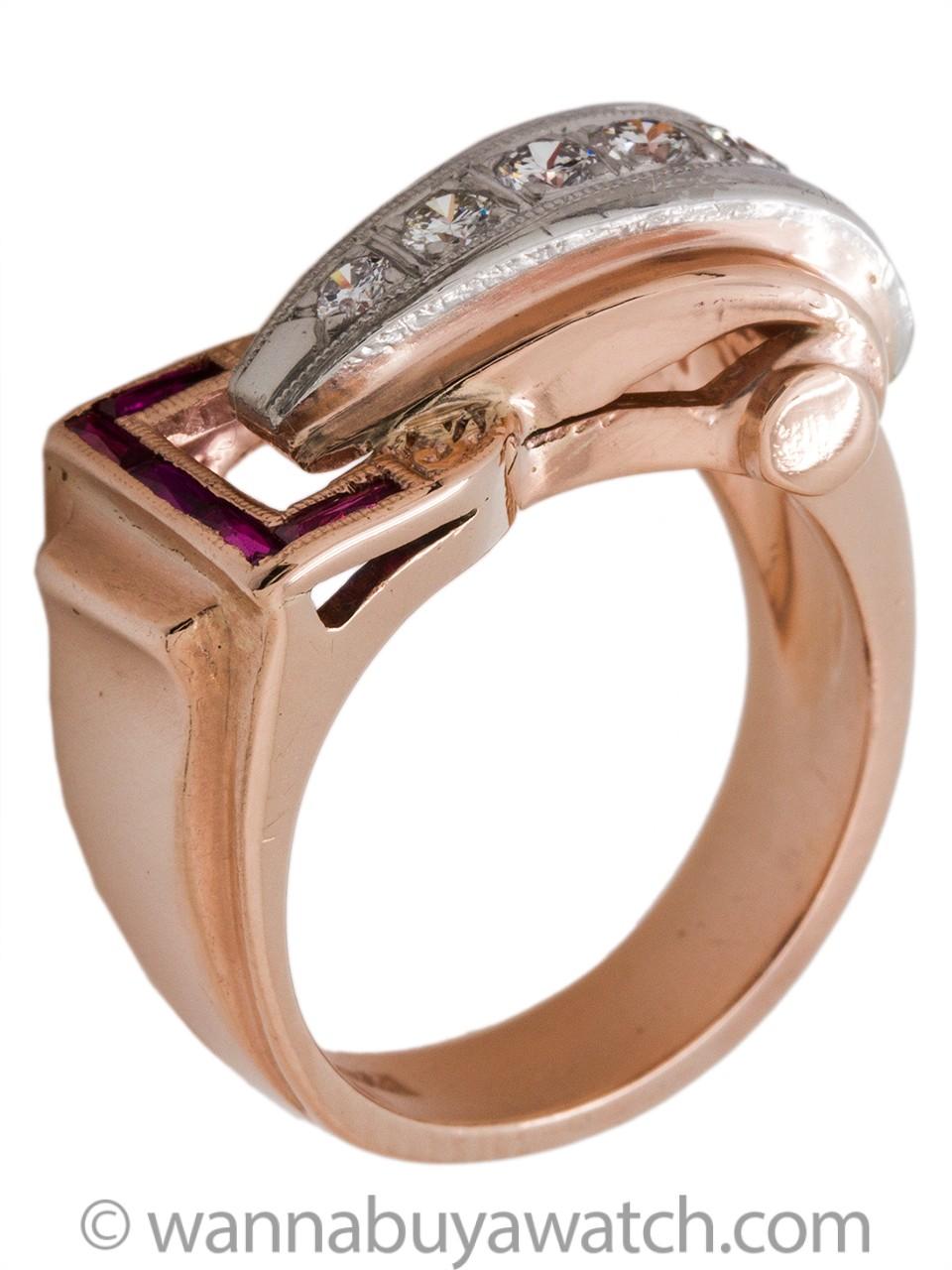 Vintage Retro 14K PG & WG Diamond Ruby Ring 0.25ct circa 1940s