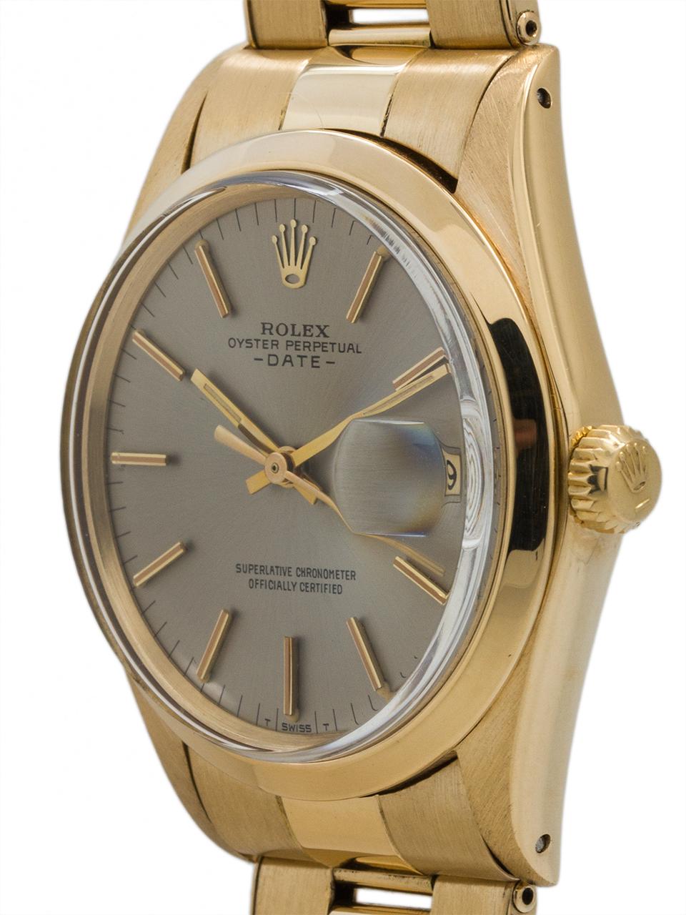Rolex 18K YG Oyster Perpetual Date ref 1500 circa 1968